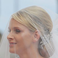 El velo de novia Charlene Wittstock durante su boda