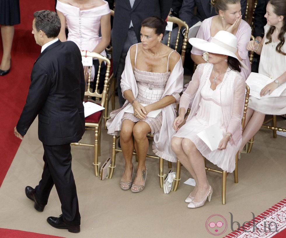 Estefanía y Carolina de Mónaco en la boda de Alberto y Charlene