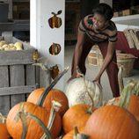 Michelle Obama comprando calabazas de Halloween