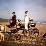 Paz Padilla a su llegada a la boda en carruaje
