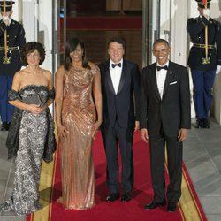 Barack y Michelle Obama con el primer ministro de italia Matteo Renzi y su esposa Inés Landini