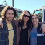 Dave, James y Tom Franco en el rodaje de una película