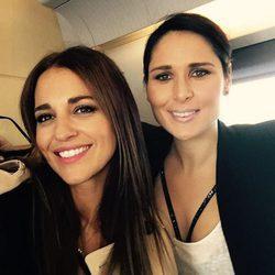 Rosa López con Paula Echevarría camino a Barcelona para el concierto de 'OT: El Reencuentro'