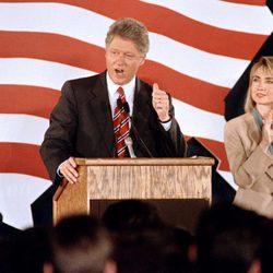 Bill Clinton durante un mitin de su campaña política