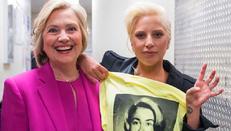 Lady Gaga apoyando a Hillary Clinton