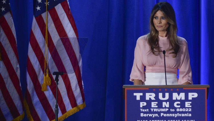 Melania Trump dando un mitin en Pensilvania