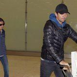 Ana Boyer y Fernando Verdasco en el aeropuerto de Madrid procedentes de Doha