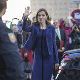 La Reina Letizia a su llegada al Mercado Central de Valencia