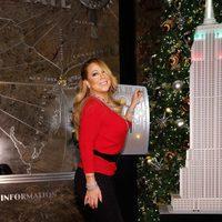 Mariah Carey en el encendido de Navidad del Empire State