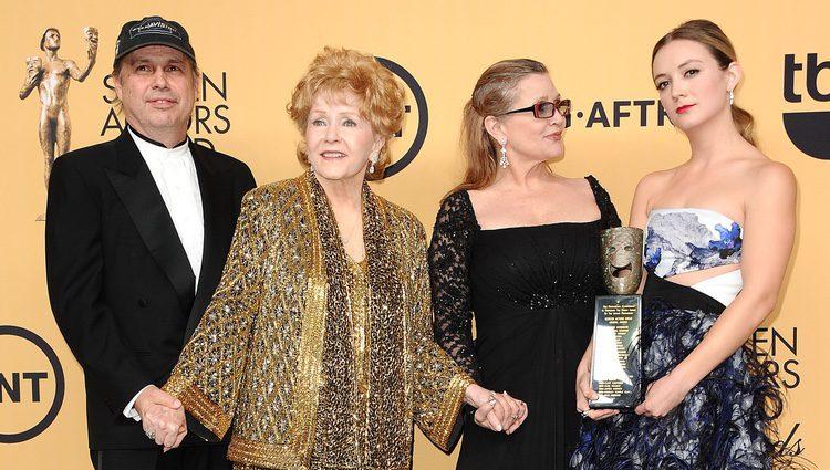Todd Fisher, Debbie Reynolds, Carrie Fisher y Billie Lourd
