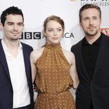 Damien Chazelle, Emma Stone y Ryan Gosling en la BAFTA Tea Party 2017