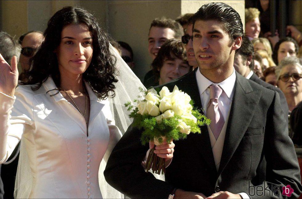 Cayetano Rivera y Blanca Romero el día de su boda