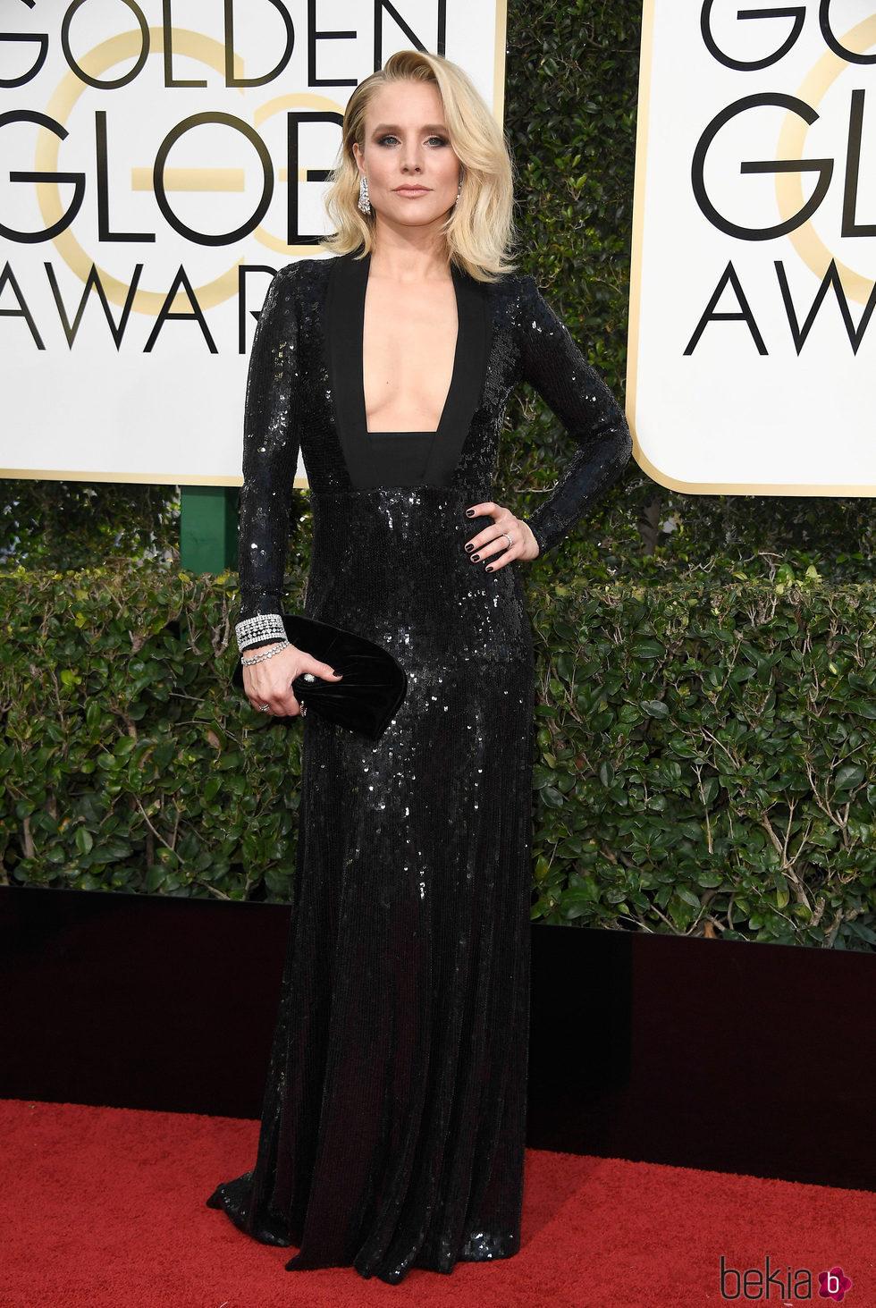 Kristen Bell en la alfombra roja de los Globos de Oro 2017