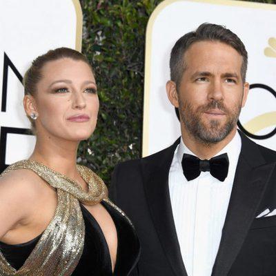 Blake Lively y Ryan Reynolds en la alfombra roja de los Globos de Oro 2017
