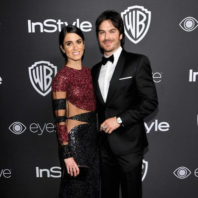 Ian Somerhalder y Nikki Reed en la fiesta de Warner Bros tras los Globos de Oro 2017