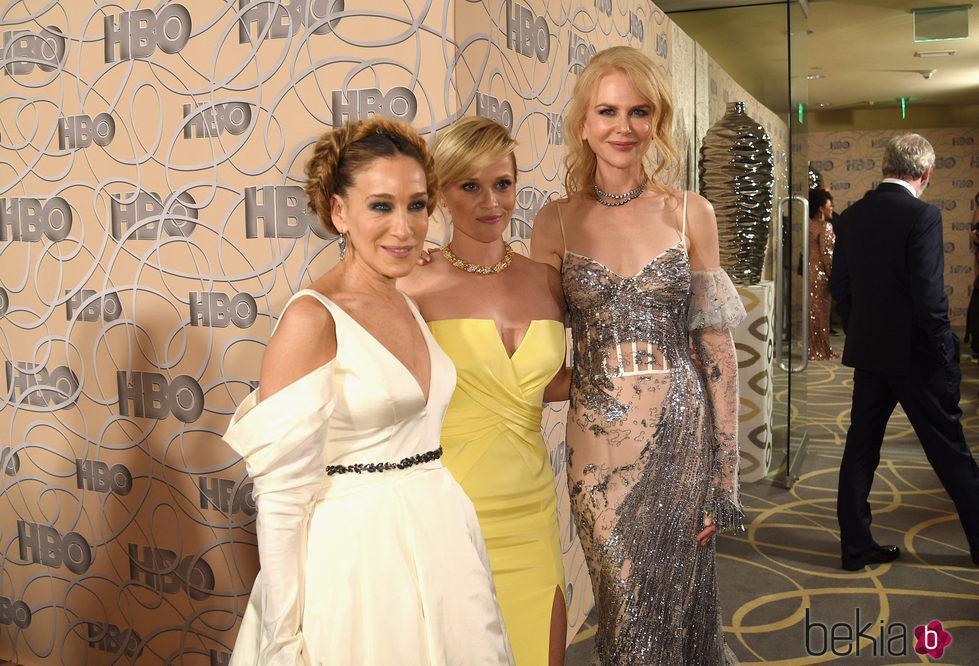 Sarah Jessica Parker, Reese Witherspoon y Nicole Kidman en la fiesta de HBO tras los Globos de Oro 2017