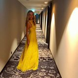 Vanesa Lorenzo luciendo un vestido amarillo para The Best FIFA Awards 2016