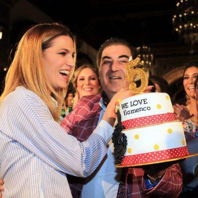 Laura Sánchez celebrando el quinto aniversario de la pasarela 'We love flamenco'
