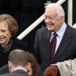 George Bush y su mujer Laura en la toma de posesión de la presidencia de Donald Trump