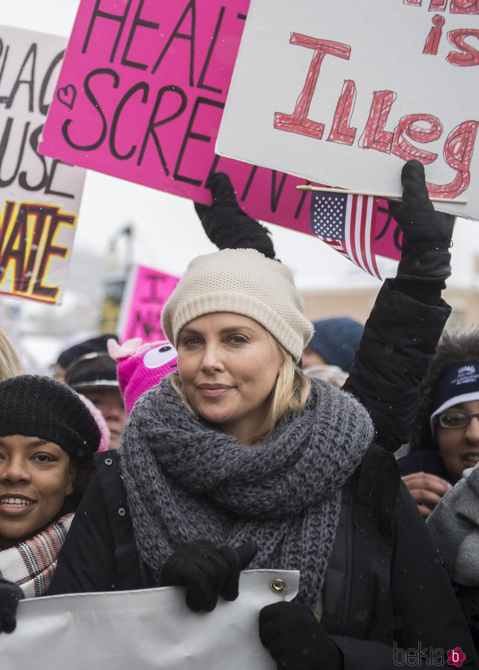 Charlize Theron en la Marcha de las Mujeres en Washington