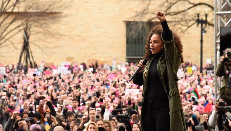 Alicia Keys en la Marcha de las Mujeres en Washington