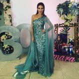 Tamara Gorro, espectacular con un vestido verde en su fiesta de cumpleaños