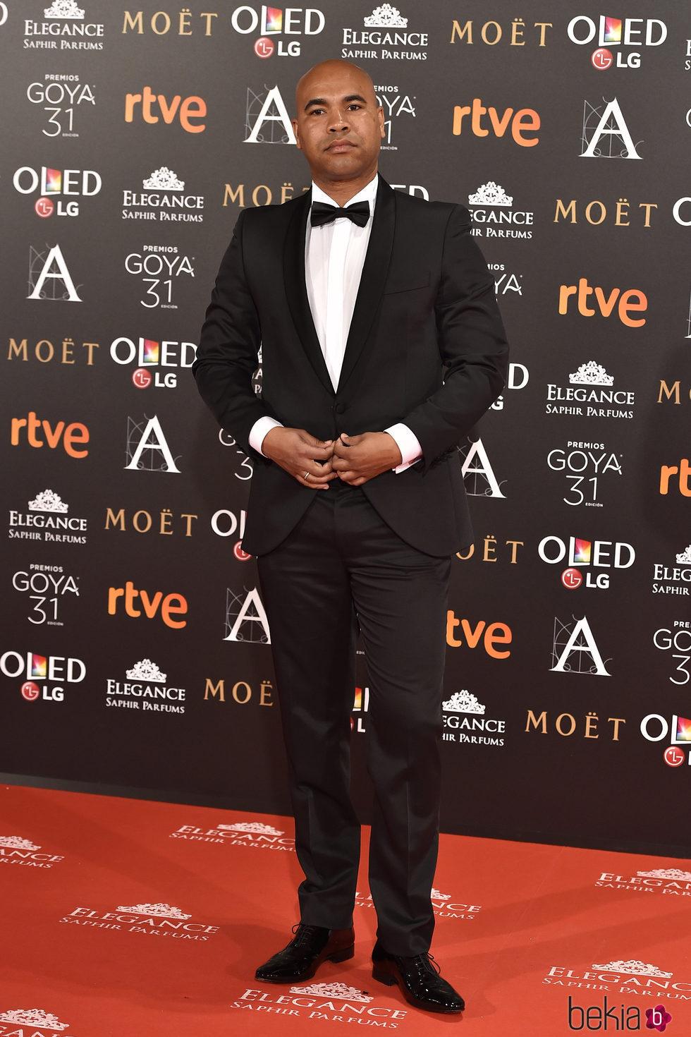 Santiago Zannou en la alfombra roja de los Premios Goya 2017