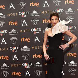 Nieves Álvarez en la alfombra roja de los Premios Goya 2017