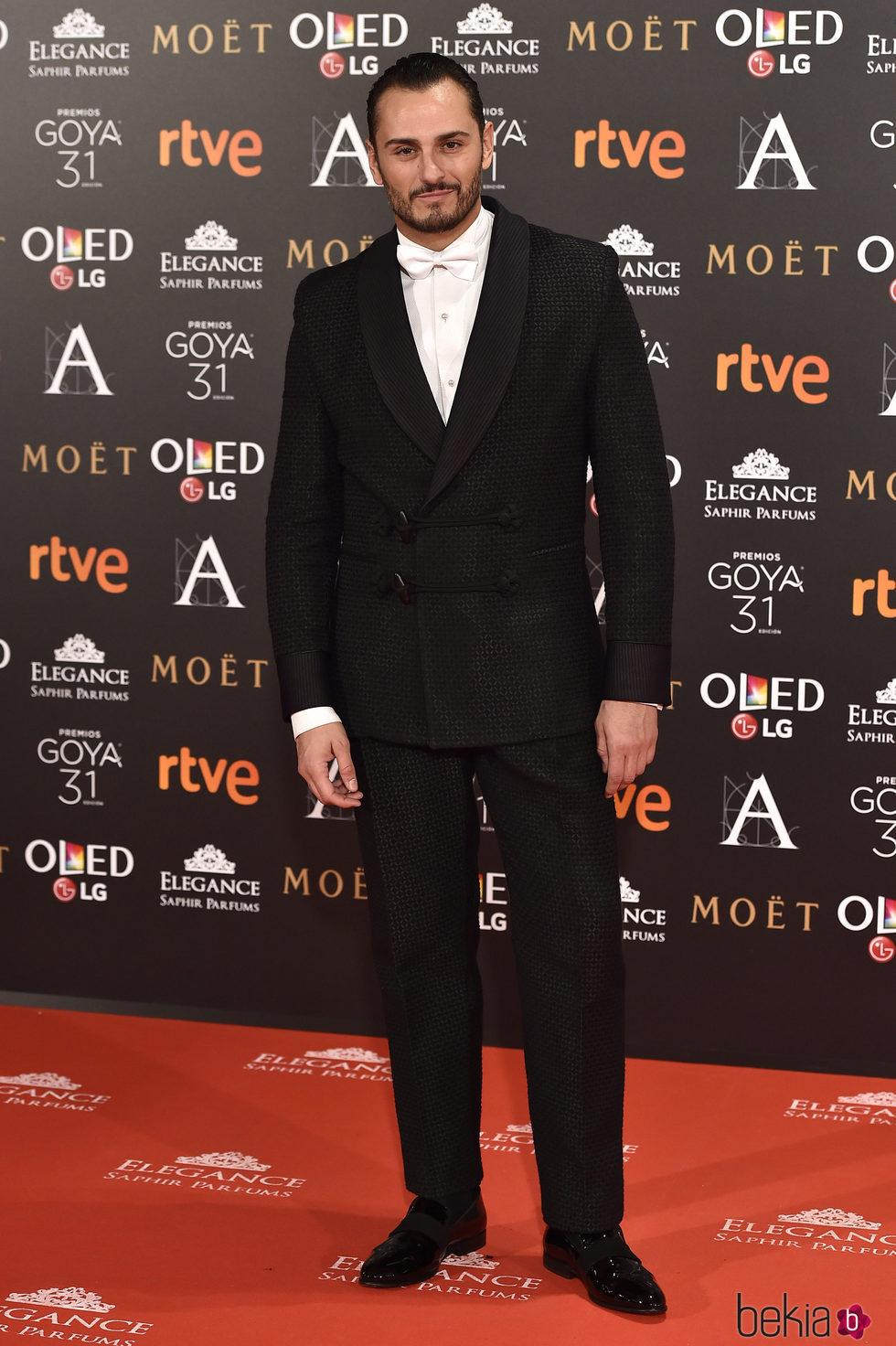 Asier Etxeandía en la alfombra roja de los Premios Goya 2017