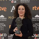 La productora Sandra Hermida Muñiz con su Goya a Mejor Dirección de Producción