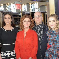 Susan Sarandon, Catherine Zeta Jones, Ryan Murphy y Kiernan Shipka en la presentación de 'Feud'