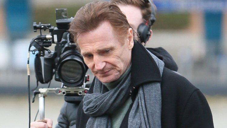 Liam Neeson en el set de rodaje de 'Love Actually 2'