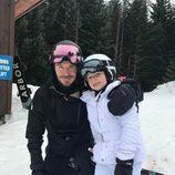David Beckham posando con su hija Harper Seven Beckham en Canadá