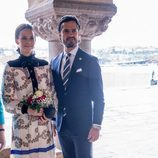 Carlos Felipe de Suecia y Sofia Hellqvist en el Ayuntamiento de Estocolmo por la visita del Gobernador de Canadá