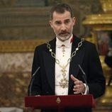 El Rey Felipe dando un discurso en la cena de gala en honor al presidente de Argentina Mauricio Macri
