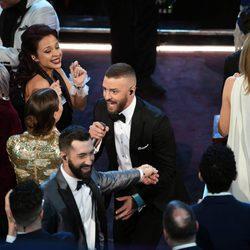 Justin Timberlake actuando en la entrega de los Premios Oscar 2017
