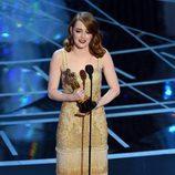 Emma Stone agradeciendo su Oscar 2017 a Mejor actriz por 'La La Land'