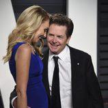 Tracy Pollan y Michael J. Fox en la fiesta de Vanity Fair de los Premios Oscar 2017
