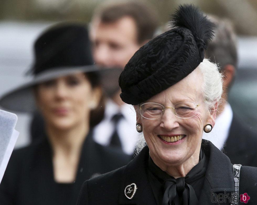 La Reina Margarita de Dinamarca en el funeral del Príncipe alemán Richard zu Sayn-Wittgenstein Berleburg