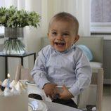 Oscar de Suecia, muy sonriente en su primer cumpleaños
