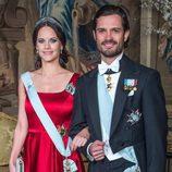 Carlos Felipe de Suecia y Sofia Hellqvist en un acto oficial tras anunciar su embarazo