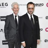 Richard Buckley y Tom Ford en la fiesta del 70 cumpleaños de Elton John