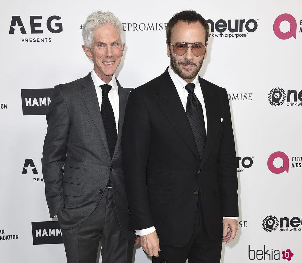 Richard Buckley y Tom Ford en la fiesta del 70 cumpleaños de Elton John