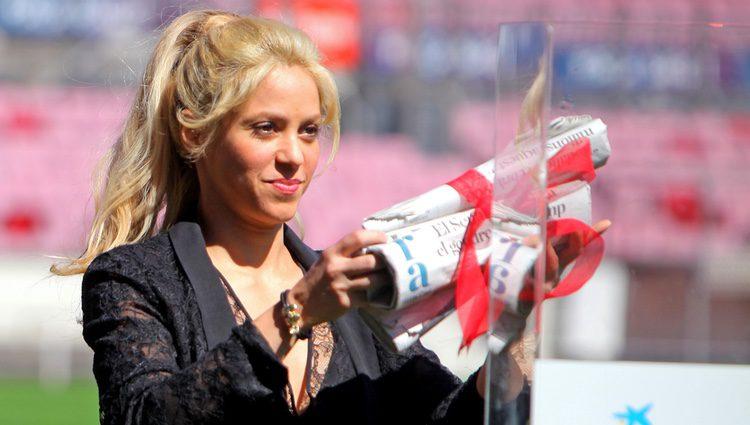 Shakira en la firma del acuerdo entre su fundación y la del Barça para la construcción de una escuela en Barraquilla