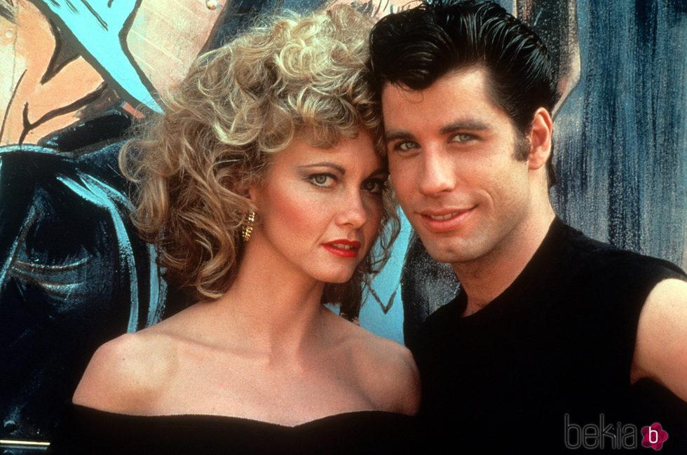 Olivia Newton-John y John Travolta en el rodaje de 'Grease'