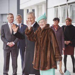 Felipe de Bélgica junto a Margarita de Dinamarca al inicio de su Visita de Estado a Dinamarca