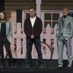 Julianne Moore, Matt Damon y George Clooney en el CinemaCon de Las Vegas