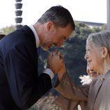 El Rey Felipe saluda a Michiko de Japón en su Viaje de Estado a Japón