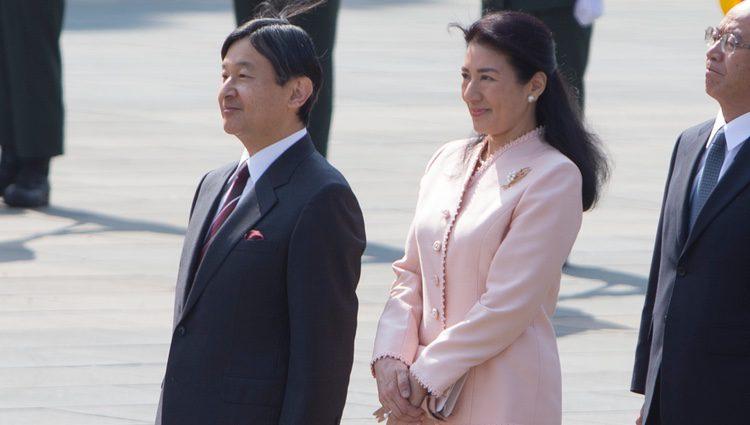 Naruhito y Masako de Japón en la ceremonia de bienvenida a los Reyes de España en el Palacio Imperial