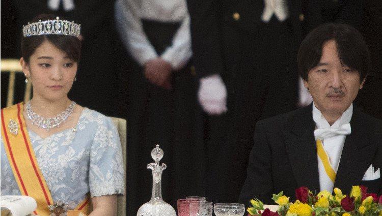 Kako de Japón y Akishino de Japón en la cena de gala en honor a los Reyes Felipe y Letizia